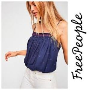 Free People Eternal Love Blue Tie Strap Tank